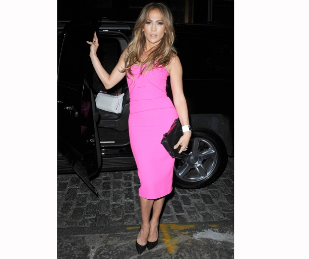 jennifer lopez bright pink dress
