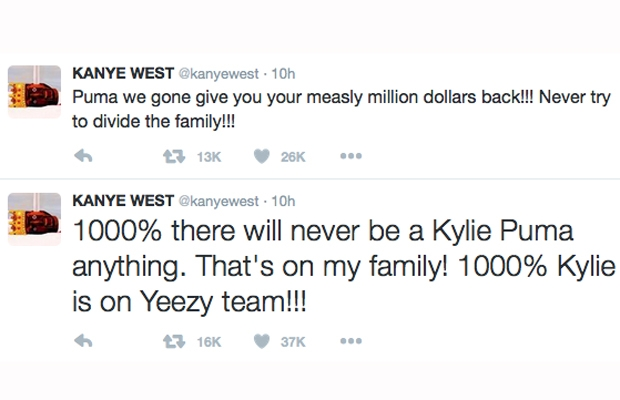 kanye west kylie puma twitter rant
