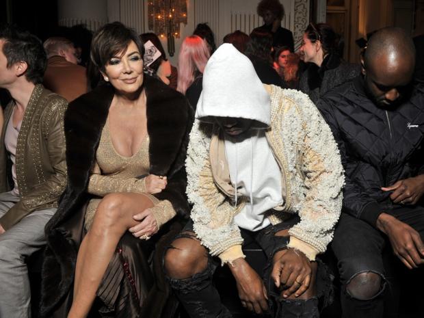 Kris Jenner and Kanye West at Balmain Aw16