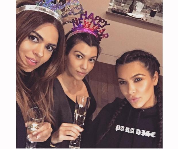 kim and kourtney kardashian spend new years eve together