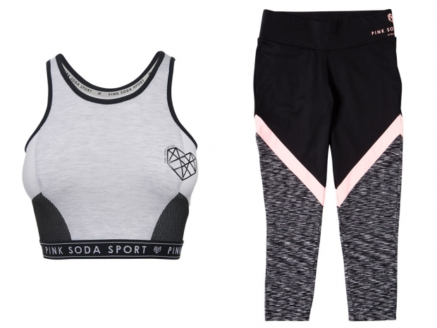 A crop top and leggings from the new Pink Soda Sport range