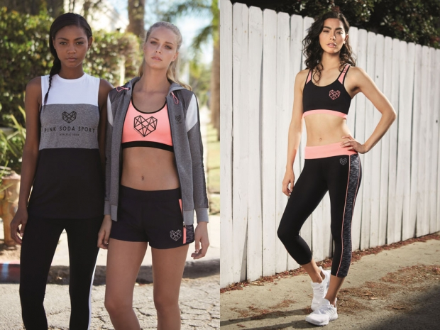 Crop tops, leggings and workout tops from the new Pink Soda Sport collection