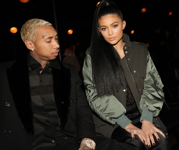 kylie jenner and tyga paris fashion week frow