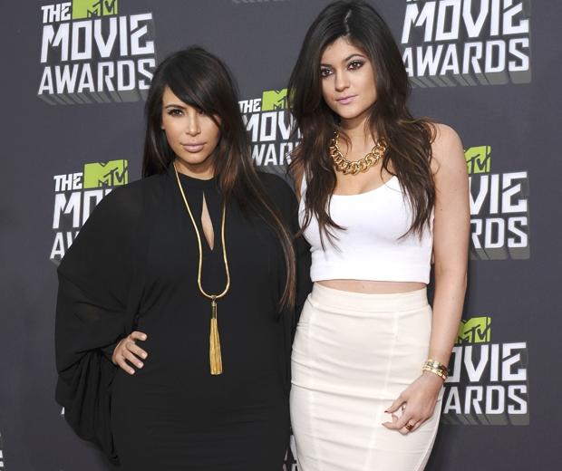 Kylie jenner and Kim Kardashian at the 2013 MTV Movie Awards...