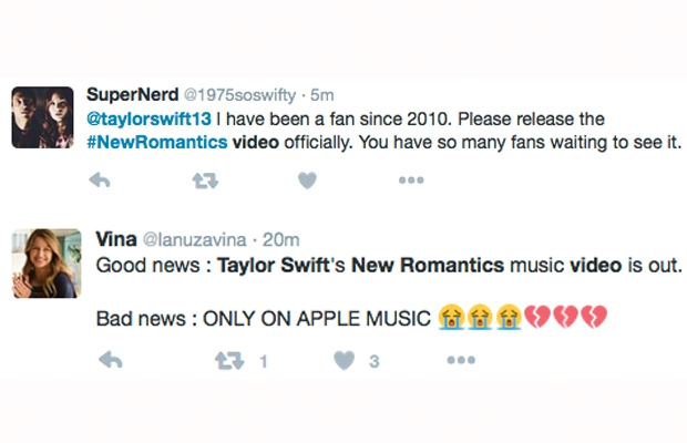 taylor swift new romantics fan tweets