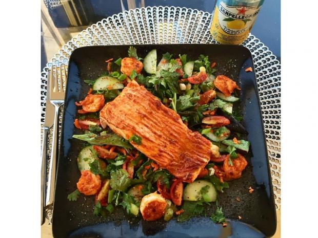 Tandoori Salmon and prawns Salad Made By Jourdan