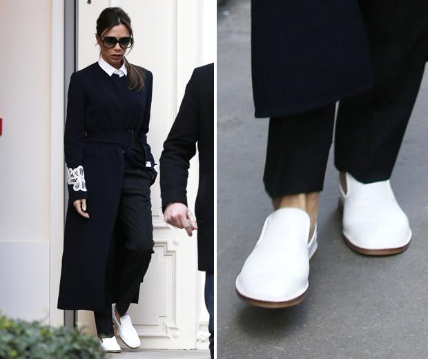 victoria beckham flat white slip on shoes