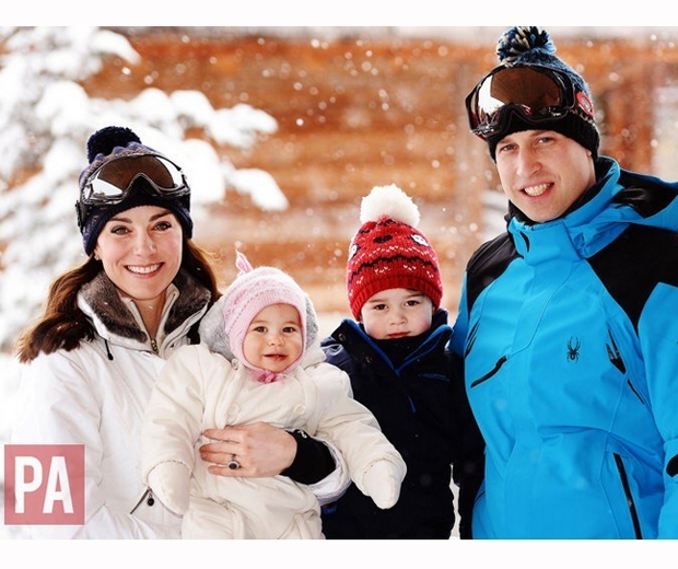prince william, kate middleton, charlotte and george skiing in the alps