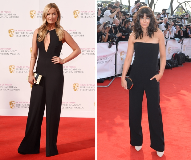 laura whitmore and claudia winkleman black jumpsuits tv baftas