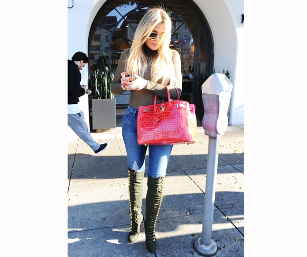 khloe kardashian jeans and knee high boots