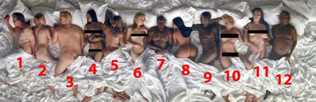 kanye west naked famous bed video