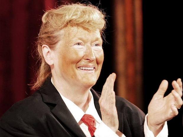 Meryl Streep dressed as Donald Trump