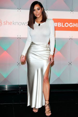 Kim Kardashian Opts For A Satin Side Split Skirt To An Event In LA, 2016