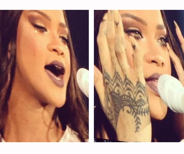 rihanna crying on stage in dublin