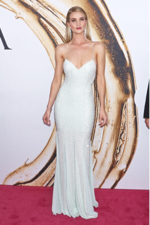 Rosie Hungtinton-Whiteley Stuns In A Pale Green Michael Kors Dress At The CFDA Fashion Awards, 2016