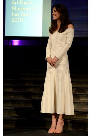 Kate Middleton Embraces The Off-The-Shoulder Trend In Cream Barbara Casasola