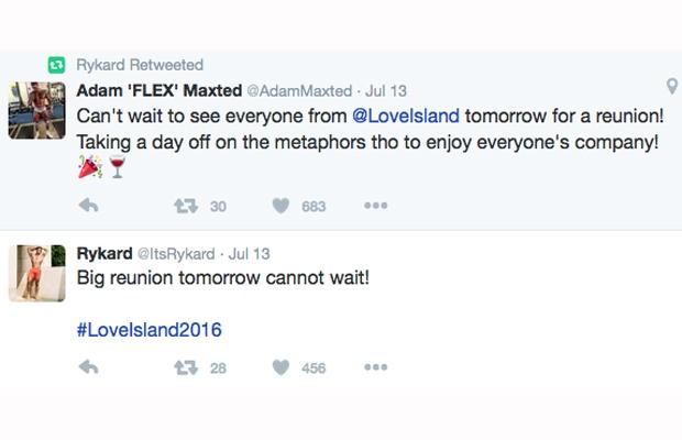 love island wrap party rykard tweet
