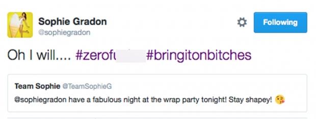 Sophie Gradon tweets wrap party