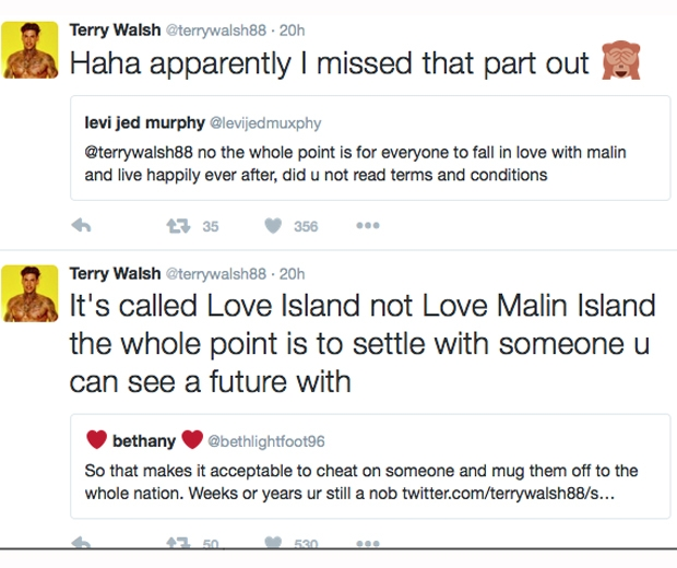 terry love island malin tweets