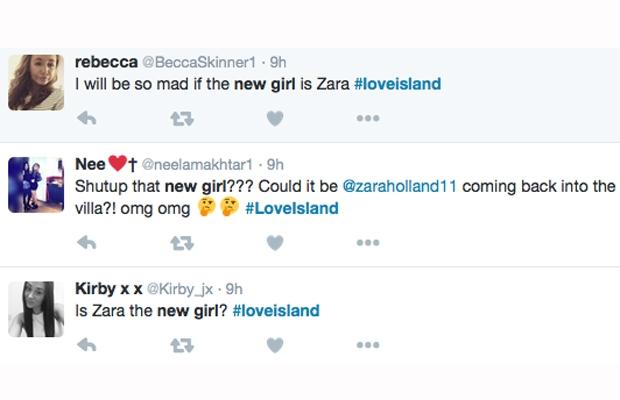 love island new girl tweets