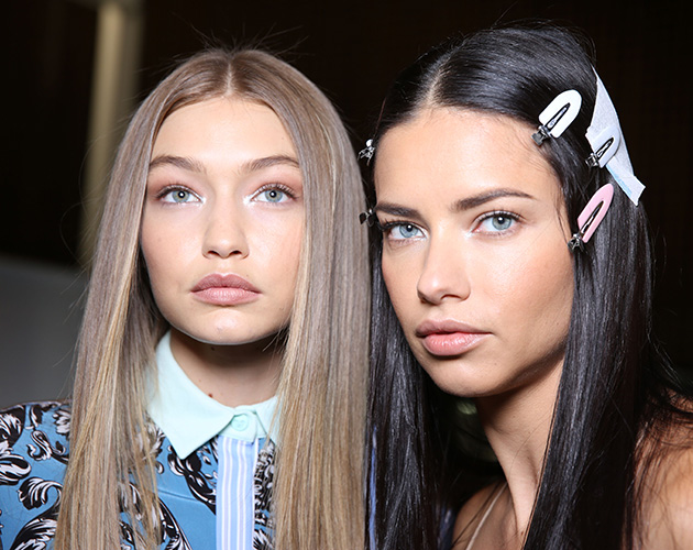 Mandatory Credit: Photo by Delphine Achard/WWD/REX/Shutterstock (5925817x) Gigi Hadid and Adriana Lima backstage Versace show, Backstage, Spring Summer 2017, Milan Fashion Week, Italy - 23 Sep 2016