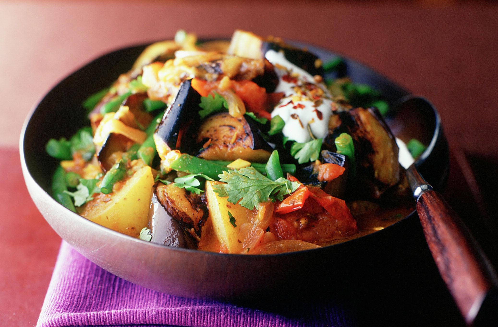 Aubergine Bean And Potato Curry