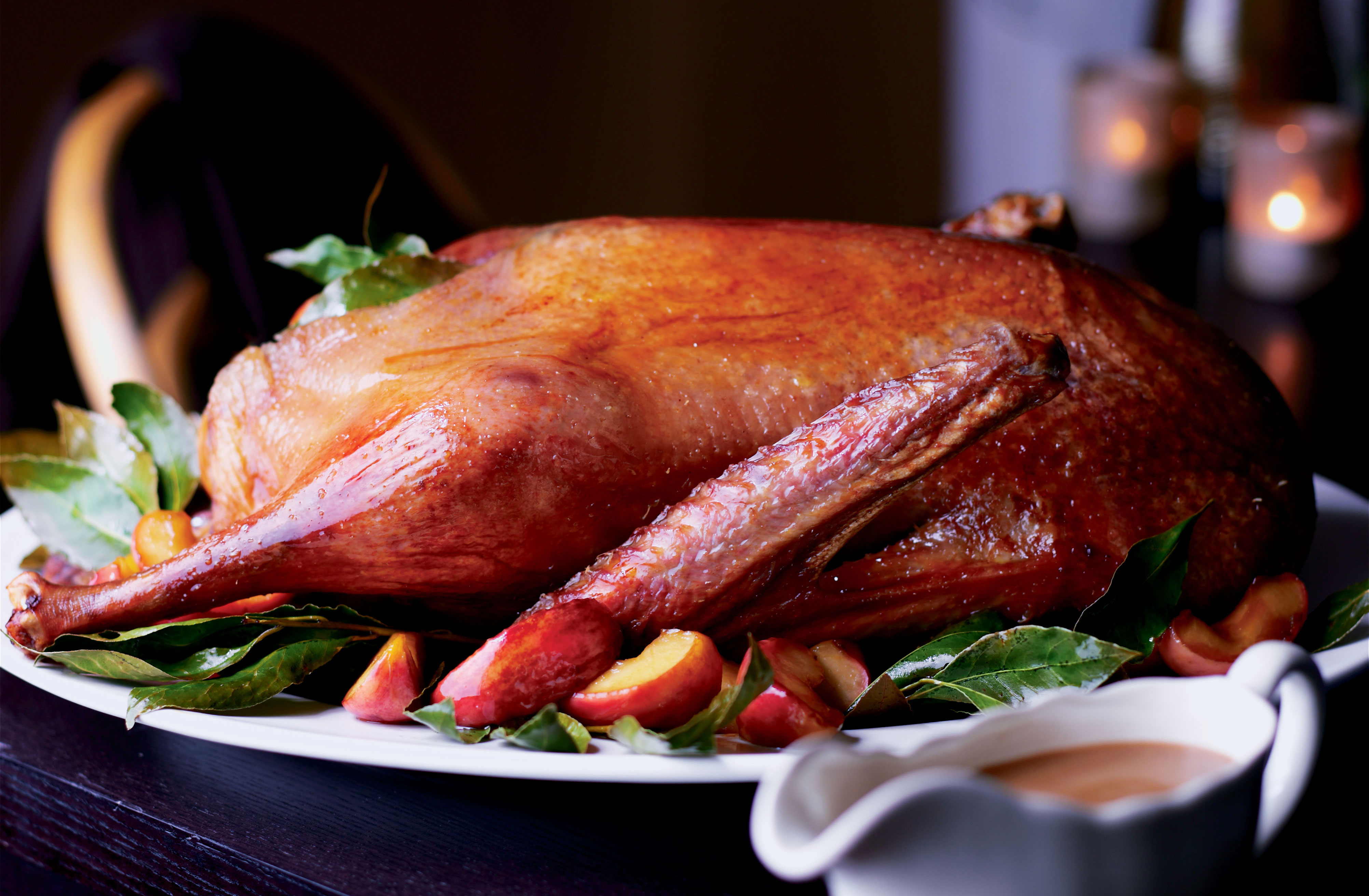 Christmas Roast.Roast Goose With Apple And Bay Leaves