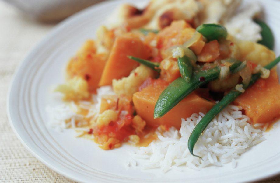 Sweet Potato Cauliflower And Sugar Snap Curry