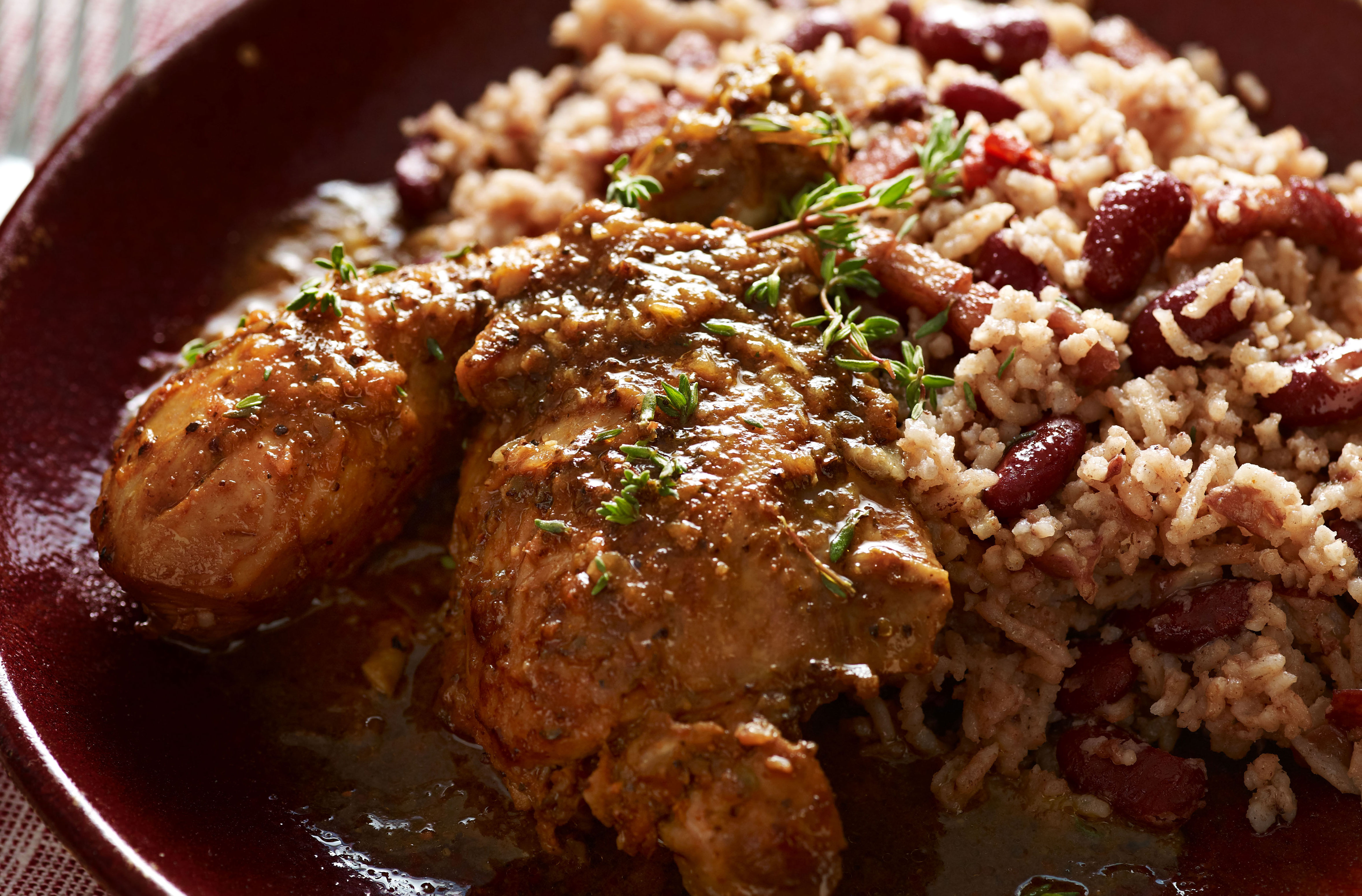 jamaican rice and beans with jerk chicken  caribbean