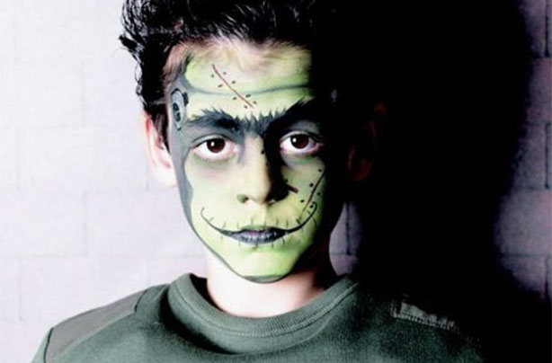 Frankenstein face paint for Halloween