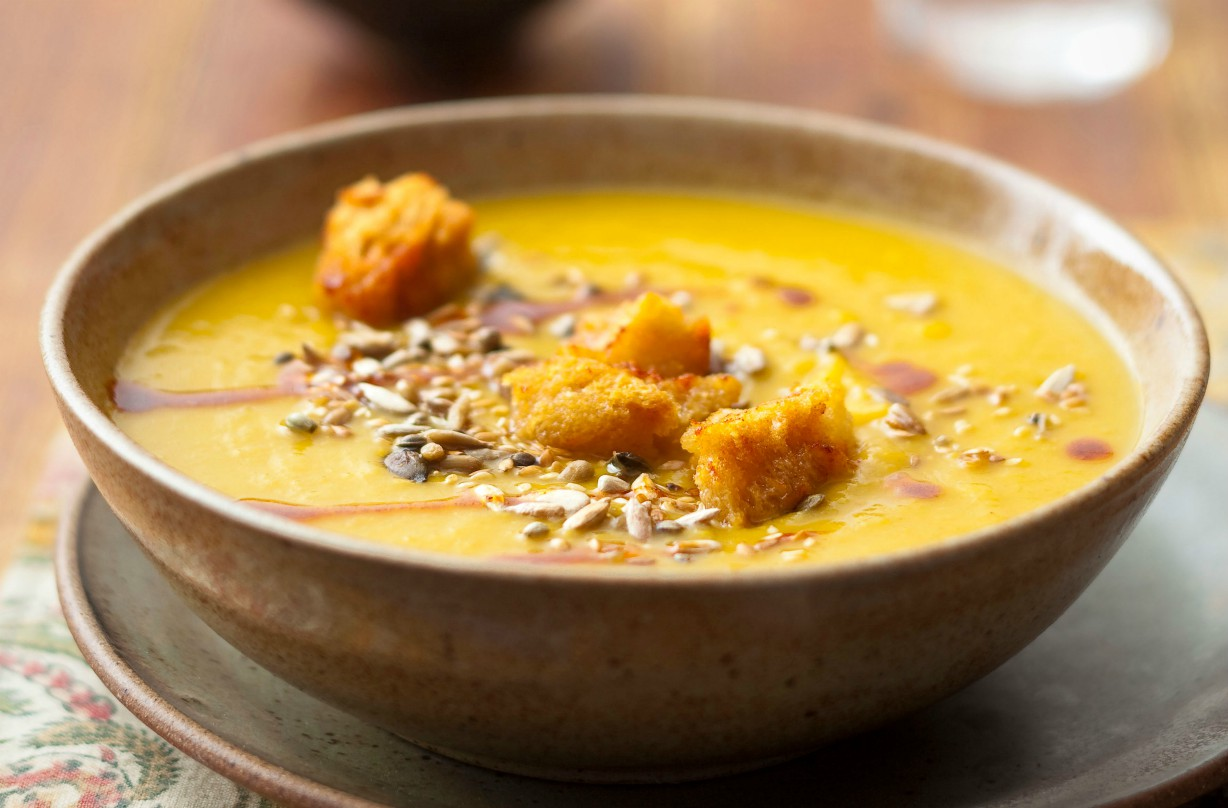 Spiced sweet potato soup with garlicky croutons