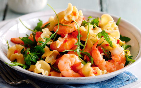 Slimming Worlds Pasta With Prawns Chilli And Tomatoes Dinner