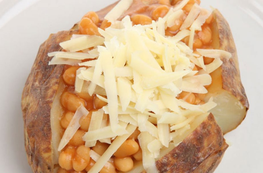 Crispy Jacket Potato With Cheesy Topped Beans