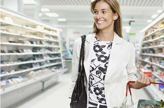 Woman shopping in supermarket_Photolibrary