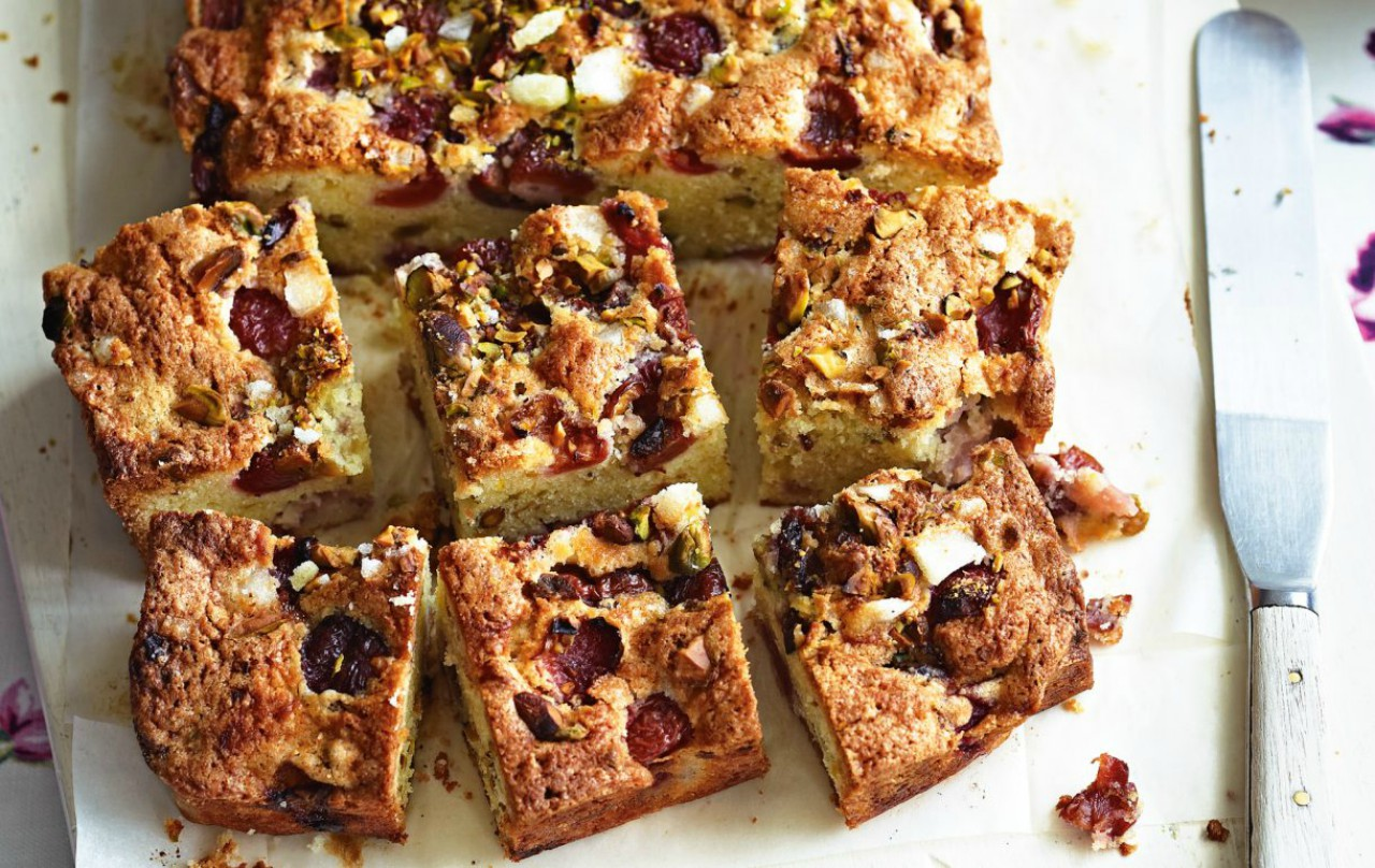 The perfect cherry and pistachio traybake to make for friends