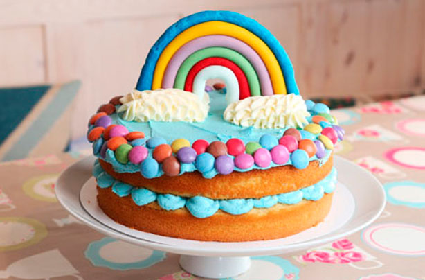 Cake Recipes Rainbow: Jo Wheatley's Rainbow Vanilla Sponge