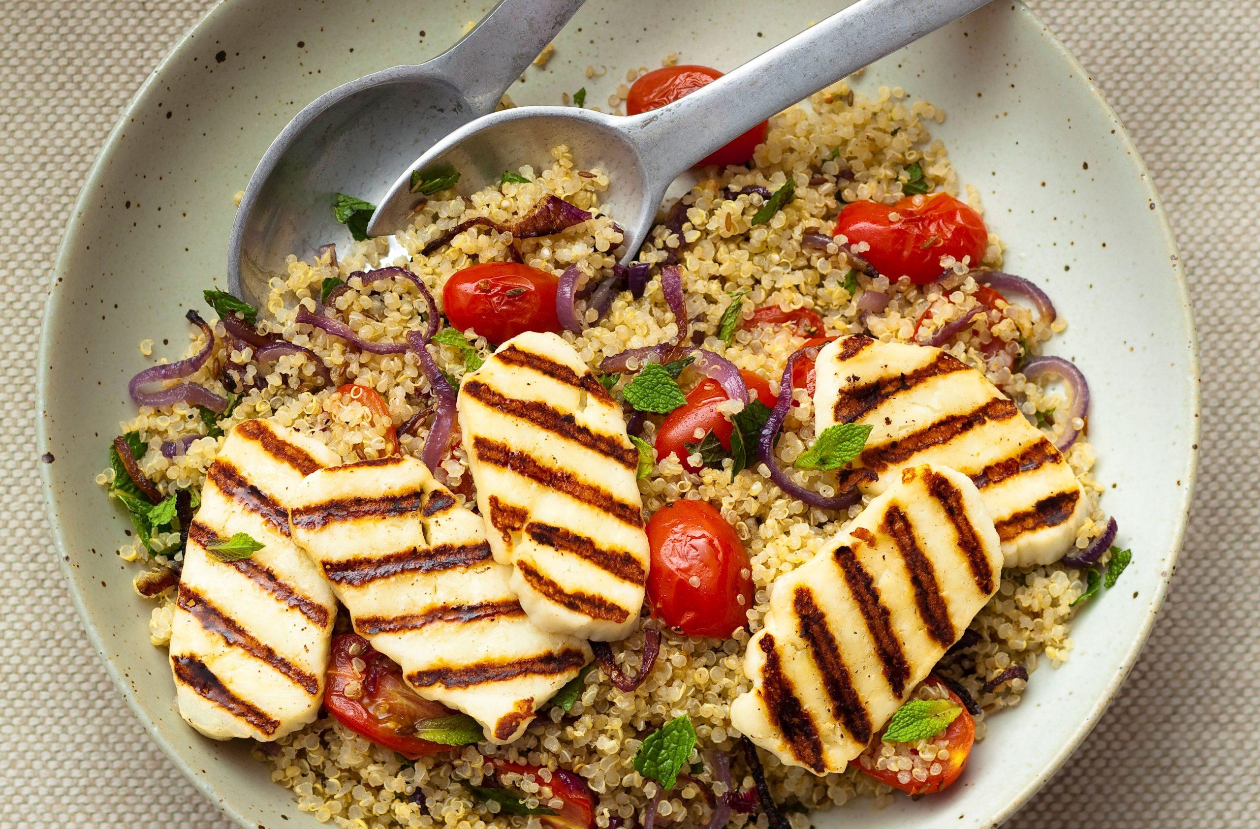 Quinoa With Halloumi Greek Recipes Goodtoknow
