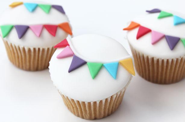 Homemade bunting cupcakes.
