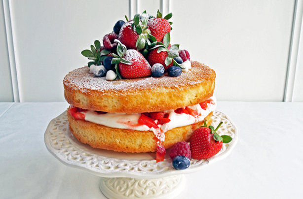 Naked Cake With Berries And Cream Recipe Goodtoknow