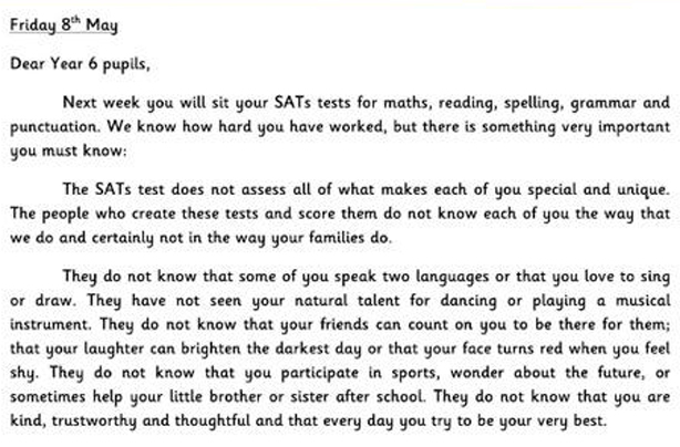 The viral letters ALL kids should read before taking their exams