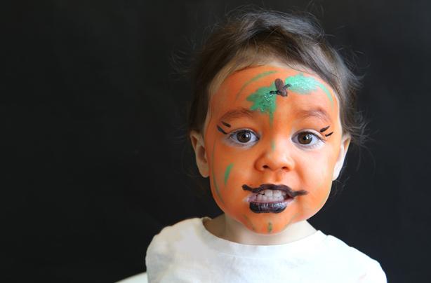 step by step pumpkin face paint idea