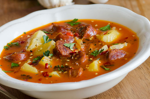 Spanish style potato and chorizo soup recipe goodtoknow forumfinder