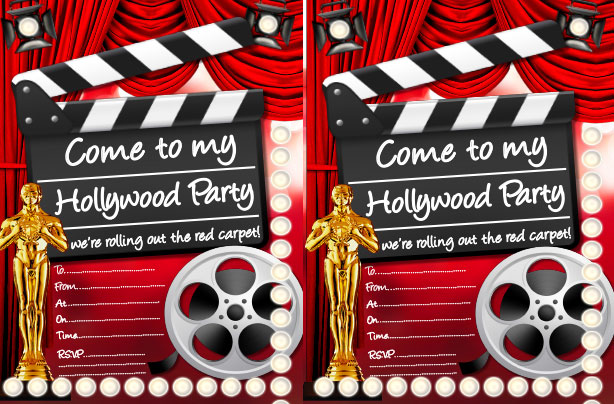Turn Up The Glamour With This Glitzy Hollywood Themed Invite Ideal If You Have A Few Divas In Your House
