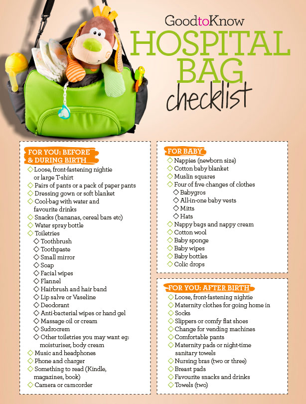 your hospital bag checklist everything you ll need for before and