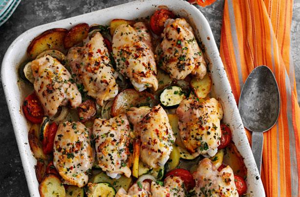 Slimming World S Rustic Garlic Chicken Tray Bake Dinner