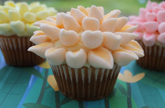 Marshmallow flower cupcakes recipe