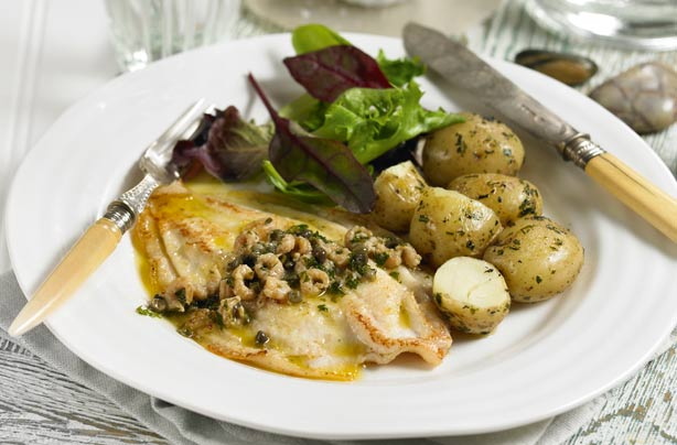 Meals under 300 calories goodtoknow meals under 300 calories quick fry lemon sole with shrimp and caper butter forumfinder Choice Image