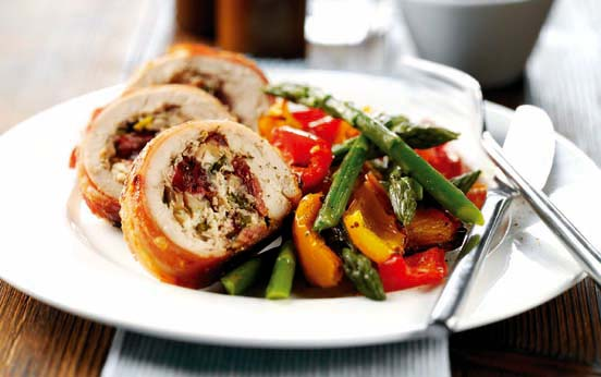 Cranberry And Ricotta Stuffed Chicken Breasts Dinner