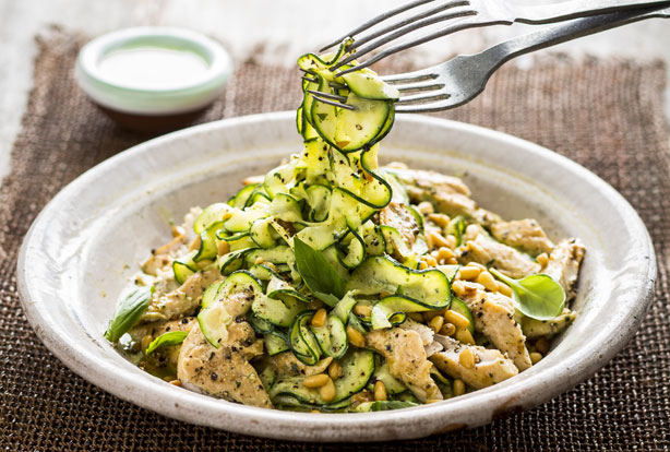 Quark recipes goodtoknow courgette spaghetti with pesto and chicken forumfinder Choice Image