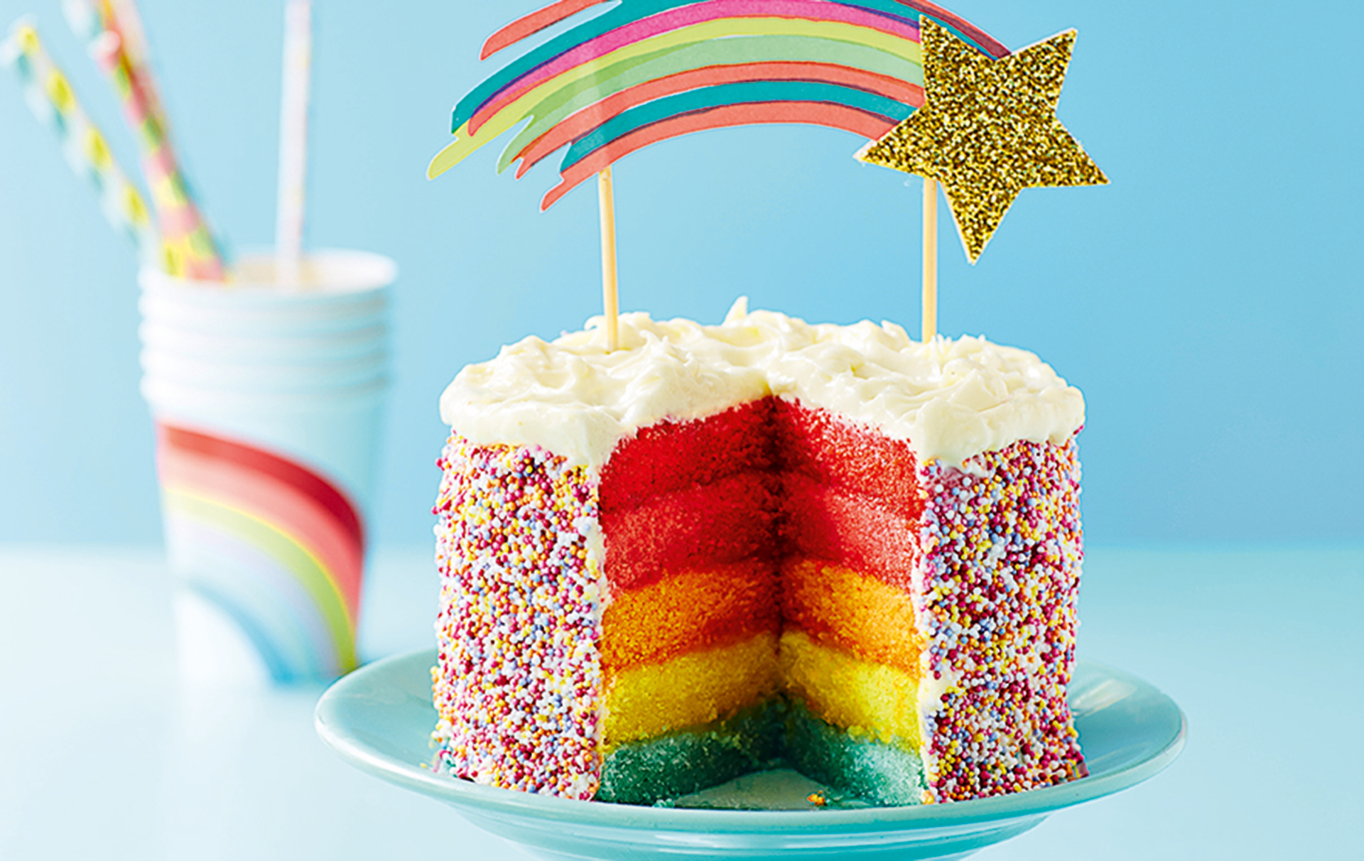 Admirable Rainbow Layer Cake American Recipes Goodtoknow Funny Birthday Cards Online Elaedamsfinfo